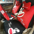 Paul Frank Universal Auto Car Seat Cover Set Short velvet 18pcs - Red Black