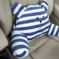 Bear Auto Car Lumbar Pillows Plush Cotton Hand Stripe - Blue