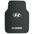 Hyundai Logo Universal Automobile Carpet Car Floor Mat Rubber 5pcs Sets - Black