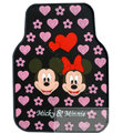 Mickey Minnie Universal Automobile Carpet Car Floor Mat Rubber Heart 5pcs Sets - Pink