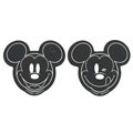 Mickey Mouse Disney Automobile Non-Slip Mat PVC Car Anti-Slip Mat Plastic Pair - Black