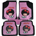 Mocmoc Universal Automobile Carpet Car Floor Mat Rubber Bow 5pcs Sets - Pink
