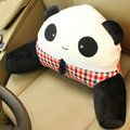 Panda Auto Car Lumbar Pillows Plush Cotton Hand Open Eyes - Red