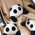 Panda Auto Car Lumbar Pillows Plush Cotton Hand Squinting - White
