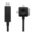 3 in 1 USB Data Cable with LED Blue Light 80CM for all mobile phone - Black Cable(Not suitable for iPhone)