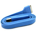 Colored Flat USB Data Cable for iPhone 3G/3GS/4G/4S iPad 2/The New iPad 100CM - Blue