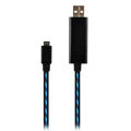c-han USB Data Cable with LED Blue Light 100CM for iPhone 5 - Black Cable