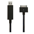 c-han USB Data Cable with LED Blue Light 120CM for iPhone 4G/4S - Black Cable