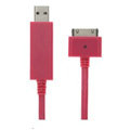 c-han USB Data Cable with LED White Light 80CM for iPhone 4G/4S - Pink Cable
