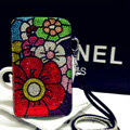 Luxury Flower Bling Crystal Case Holster Leather Cover for Samsung GALAXY S4 I9500 SIV - Black