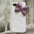 Bling Bowknot Rhinestone Crystal Cases Pearls Covers for iPhone 5C - Purple