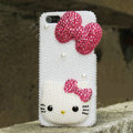 Bling Hello kitty Crystal Cases Rhinestone Pearls Covers for iPhone 5C - Rose