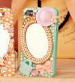 Bling Mirror Bowknot Crystal Cases Pearls Covers for iPhone 5C - Blue