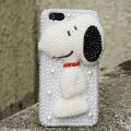 Bling Snoopy Crystal Cases Rhinestone Pearls Covers for iPhone 5C - White