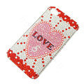 Bling Swarovski crystal cases Love diamond covers for iPhone 5C - Red
