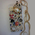 Bling Swarovski crystal cases Panda pearl diamond cover for iPhone 5C - White