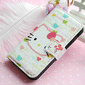 Hello Kitty Side Flip leather Case Holster Cover Skin for iPhone 5C - White 03