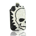 Luxury Bling Holster Covers Skull diamond Crystal Cases for iPhone 5C - White