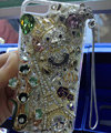 Swarovski crystal cases Bling Eiffel Tower bear diamond cover for iPhone 5C - White