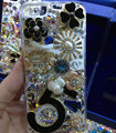 Swarovski crystal cases Bling Flowers diamond cover for iPhone 5C - Black