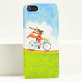 Ultrathin Matte Cases Bicycle girl Hard Back Covers for iPhone 5C - Green