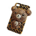 Bling 3D Bear Crystal Case Luxury Cover for iPhone 5S - Brown