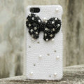 Bling Bowknot Rhinestone Crystal Cases Pearls Covers for iPhone 5S - Black