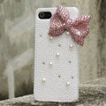 Bling Bowknot Rhinestone Crystal Cases Pearls Covers for iPhone 5S - Pink