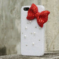 Bling Bowknot Rhinestone Crystal Cases Pearls Covers for iPhone 5S - Red