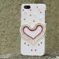 Bling Heart Crystal Cases Rhinestone Pearls Covers for iPhone 5S - White