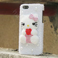Bling Hello kitty Crystal Cases Rhinestone Pearls Covers for iPhone 5S - White