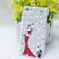 Bling Pretty girl Crystal Cases Rhinestone Pearls Covers for iPhone 5S - Red