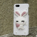 Bling Rabbit Crystal Cases Rhinestone Pearls Covers for iPhone 5S - White