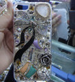 Bling Swarovski crystal cases Bowknot diamond covers for iPhone 5S - White