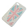 Bling Swarovski crystal cases Britain flag diamond covers for iPhone 5S - White
