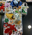 Bling Swarovski crystal cases Fish Flower diamond cover for iPhone 5S - Blue