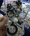 Bling Swarovski crystal cases Flowers 5 diamond cover for iPhone 5S - Black