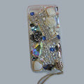 Bling Swarovski crystal cases Flowers diamond cover for iPhone 5S - White