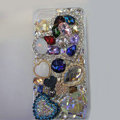 Bling Swarovski crystal cases Heart diamond cover for iPhone 5S - Blue