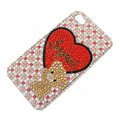 Bling Swarovski crystal cases Love Bear diamond covers for iPhone 5S - Red