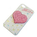 Bling Swarovski crystal cases Love Heart diamond covers for iPhone 5S - White