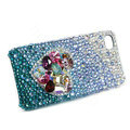 Bling Swarovski crystal cases Love heart diamond covers for iPhone 5S - Blue