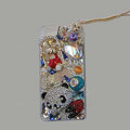 Bling Swarovski crystal cases Panda diamond cover for iPhone 5S - White