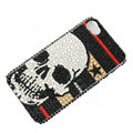 Bling Swarovski crystal cases Skull diamond covers Skin for iPhone 5S - Black