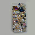 Bling Swarovski crystal cases Spider diamond cover skin for iPhone 5S - White