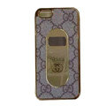 GUCCI Luxury leather Cases Hard Back Covers for iPhone 5S - Coffee