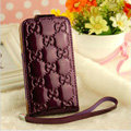GUCCI leather Cases Luxury Holster Covers Skin for iPhone 5S - Purple