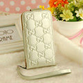 GUCCI leather Cases Luxury Holster Covers Skin for iPhone 5S - White
