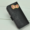 Hello Kitty Side Flip leather Case Holster Cover Skin for iPhone 5S - Black