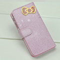 Hello Kitty Side Flip leather Case Holster Cover Skin for iPhone 5S - Purple